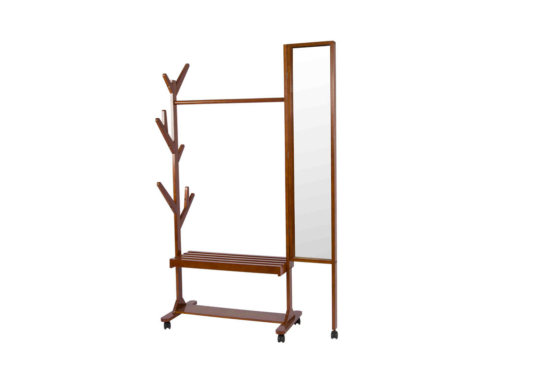 Movable Soild Wood Coat Coat Hanger Stand With Turning Mirror / Shelves