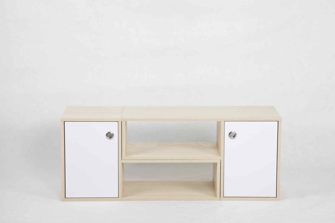 White Oak L Shape Modern Wood Furniture Cabinet Set With Drawer And 2 Shelves