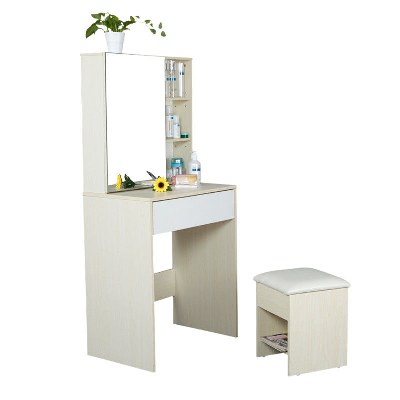 Particle Board Bedroom Makeup Vanity Set White With Mirror / Hidden Cabinet