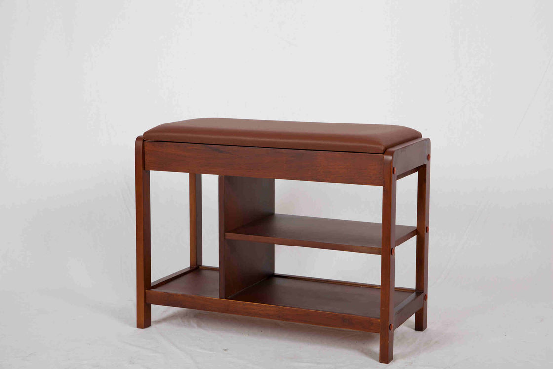 Lightweight 3 Shelves Entryway Bench With Shoe Storage / Hidden Drawer