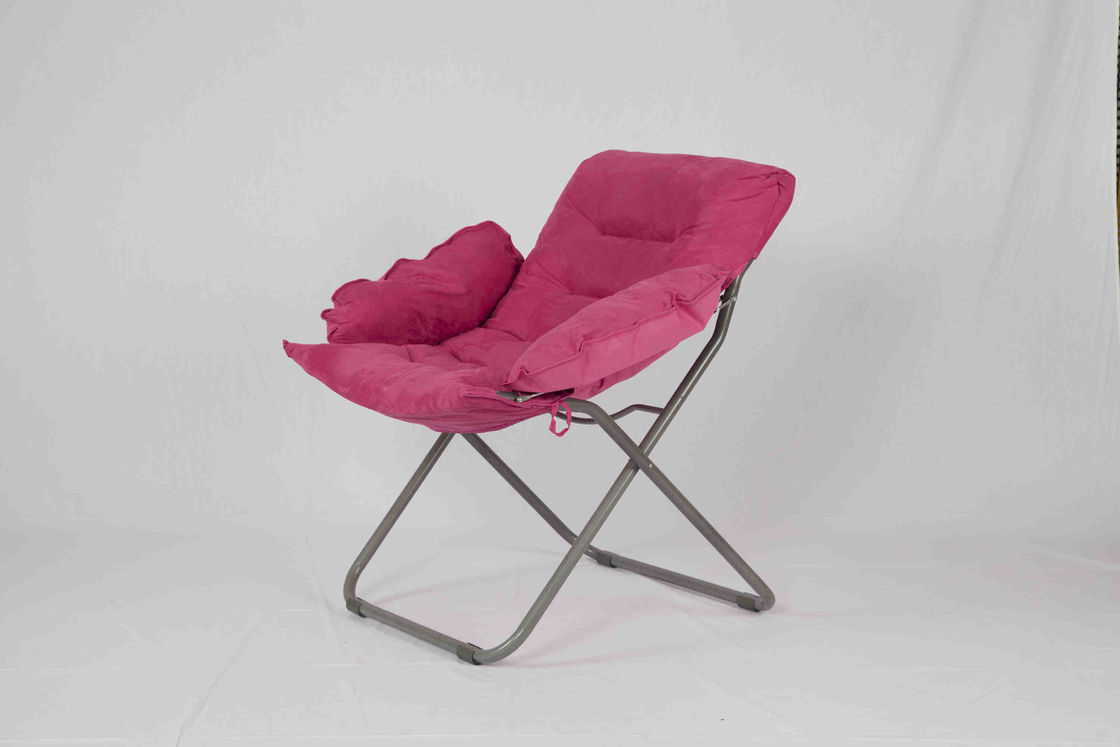Kids Rose Red Leisure Metal Folding Chairs With Heavy Duty Polyester Fabric