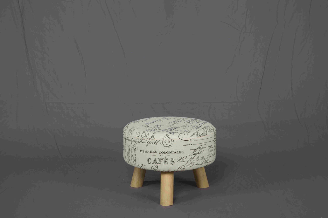 3.1kg Soild Wood Small Upholstered Footstool For Bedroom / Living Room