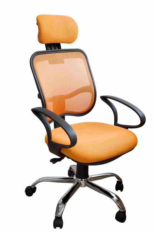 Orange Fabric Home Office Computer Chair Ergonomic Back Comfortable For Whole Day Work