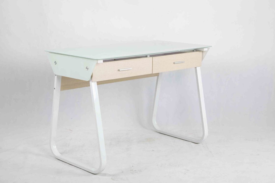 Metal Frame Modern Glass Office Desk Adjustable Base With 2 Wooden Drawers