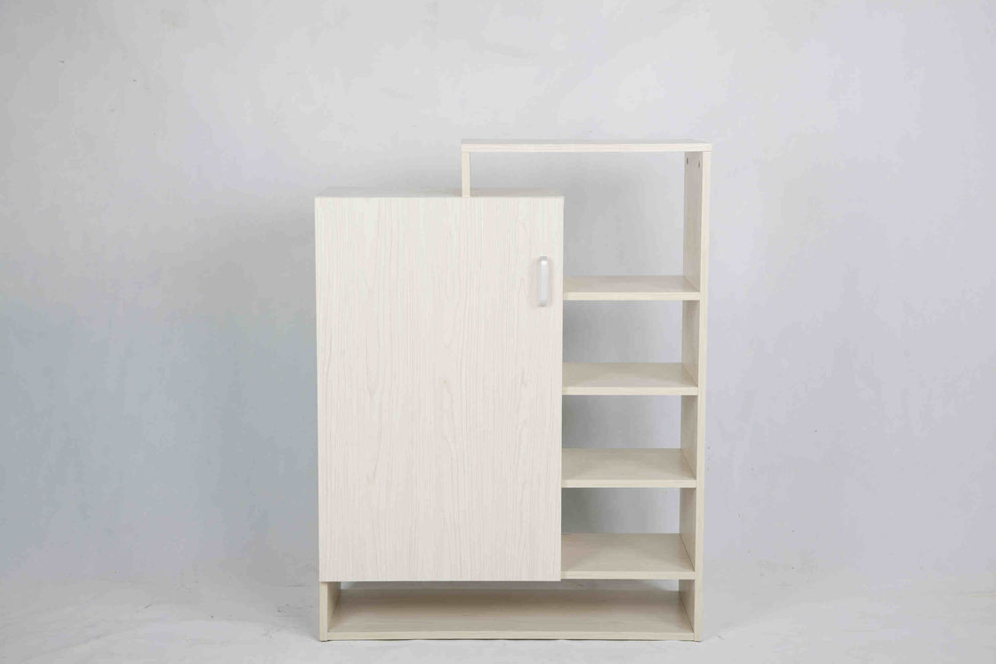 Practical Wooden Home Shoe Cabinet Removeable Shelves With Door Hollow Racks