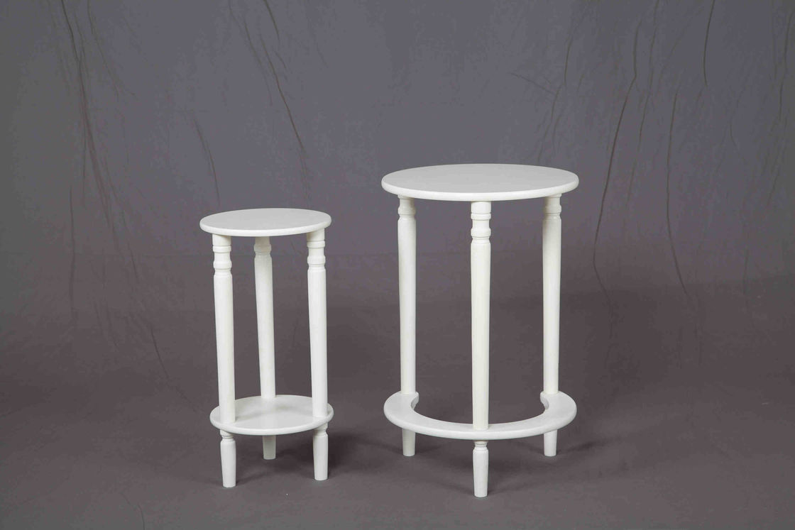White Nesting Soild Wooden Sofa End Tables MDF For Saving Space Balcony