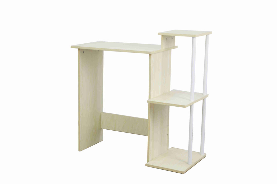 3 Tier Storage Shelves Home Office Computer Desk For Saving Space White Oak