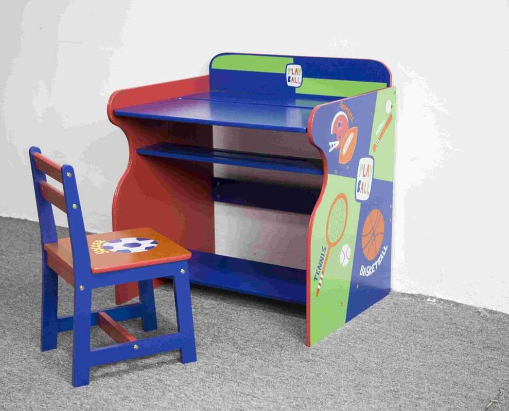 Wooden Sports Themed Drawing - Study Desk Chair Set For Toddler