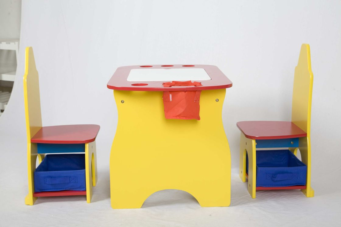 Children Wooden Desk With Storage And 2 Chair With Fabric Bins