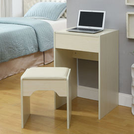 White Storage Desk Home Wood Furniture With Lifted Mirror / 6 Knock Down Shelves